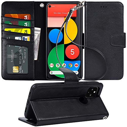 Arae Case for Google Pixel 5 PU Leather Wallet Case Cover [Stand Feature] with Wrist Strap and [4-Slots] ID&Credit Cards Pocket for Google Pixel 5, 6.0 inch, Black