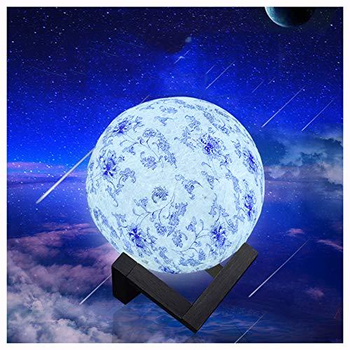 JJYP Lámpara lunar de porcelana azul y blanco, 8/15 cm LED RGB luz de noche lunar 16 colores suave con control remoto de carga USB y control táctil 3D luz de la luna de los niños de 8 cm