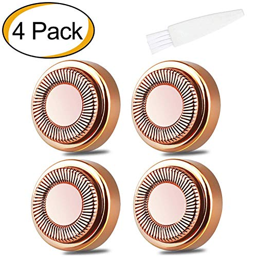 4 Pack Gesichtshaarentferner Ersatzköpfe für Touch Flawless Elektrorasierer für Lippen, Kinn, Wangen und Sideburns, wie im Fernsehen gesehen 18K vergoldete Klingen