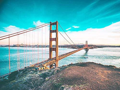 5D Diamant Schilderij Kits Volledige Boor Grote Scenic Golden Gate Bridge Ronde Diamant Borduurwerk Cross Stitch DIY Strass Mozaïek voor Volwassenen Kids Geschenken Frameloos, Zxx5D 70x90cm