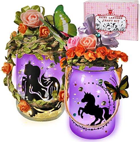 VOJUEAR Fairy Lantern Craft Kit for Kids,Night Light for Kids - Children Toy Set Kits,DIY Make Your Own Fairy Lantern Jar Arts Crafts Idea Gift for 3-8 Girls (2 Pack)