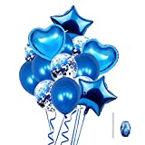 Huture 14PCS Globo de Látex de Globo de Confeti Globo Corazón Forma de Estrella Globo de Aluminio Globos Mylar Globos de Helio de Aluminio para Cumpleaños de Boda Decor de Baby Shower Niña, Azul