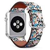 (Boston Terrier French Bulldog) Patterned Leather Wristband Strap for Apple Watch Series 4/3/2/1 gen,Replacement for iWatch 42mm / 44mm Bands