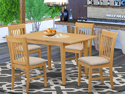 East West Furniture NOFK5-OAK-C 5-Piece Kitchen Dining Set – 4 Dining Chairs and Kitchen Table – Rectangular Table Top – Slatted Back and Linen Fabric Chair Seat (Oak Finish)