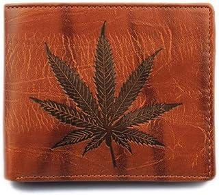 Personalized Orange /& Blue Leafy Swirls Genuine Leather Money Clip