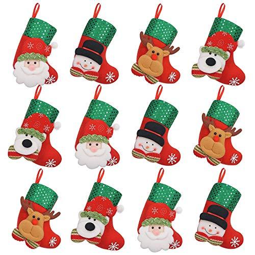 iZoeL 12-delige set kerstlaarzen kerstkousen klein kerstkous kerstdecoratie en open haard decoratie Kerstmis bestekzak bestekhouder