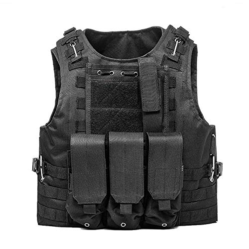 AKARMY Outdoor Camo Assault Army Shooting Hunting Vest,Adjustable Tactical Military Vest,Airsoft Paintball with Removeable Pouche 0888 Black