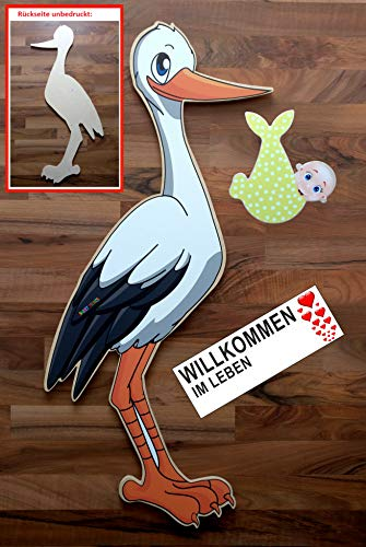 SET - 95 cm Babystorch aus HOLZ & Baby NEUTRAL & Beschriftungstafel für draußen Geburt Storch-Holz Klapperstorch Holzstorch GELB (EINSEITIG bedruckt, 95x45 cm)