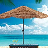 JOUS Φ2.4M Ombrellone da Spiaggia per Esterno con Manovella, Ombrellone in Paglia di Simulazione Hawaiana, Asta Ferro 38mm, Altezza 2.15m, Senza Base, per Giardino, Balcone, Cortile, Parco, Campeggio