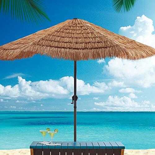 KUWD Sombrilla Tejida De Paja Artificial Hawaiana con Mecanismo De Manivela, Sombrilla para Exteriores, Sombrillas De Paja Artificiales para Jardines/Balcones/Terrazas/Canchas