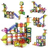 CUTE STONE 141 PCS Magnetic Tiles Magnetic Blocks Building Toys Marble Run STEM Toys Birthday Gift for Kids, Boys and Girls