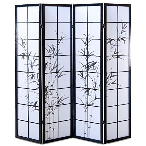Homestyle4u 286, Paravent Raumteiler 4 teilig, Holz Schwarz, Reispapier Weiß Motiv Bambus, Höhe 175 cm