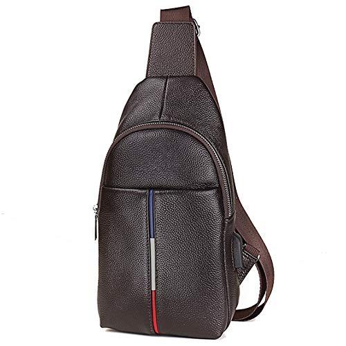 WYYJXZ wasserdichte Brusttasche Diagonal Cross Bag Outdoor-Reittasche Mit USB-Ladekopfhörerbuchse, Brusttasche Für Reife Männer,Braun