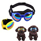2 Pack Dog Sunglasses Goggles, Pet Puppy Sunglasses with Adjustable Head and Chin Straps Windproof Eye Wear Protection Dog Decoration for About Over 13 lbs Dogs