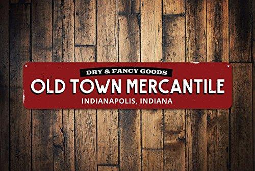 Fhdang Decor Old Town Mercantile des Signes, personnalisé Dry & Fancy Goods Sign, Société General Store City State Emplacement Sign, Plaque en métal, 10,2 x 45,7 cm