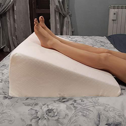 Cuscino ortopedico, cuneo posturale MEMORY FOAM per letto o divano per circolazione sanguigna o reflussi con tessuto Bamboo. Cuscino per migliorare la lettura. Poggia schiena letto triangolare