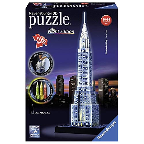 Kids Brain Teaser Chrysler Building - Night Edition 216 Piece 3D Jigsaw Puzzle