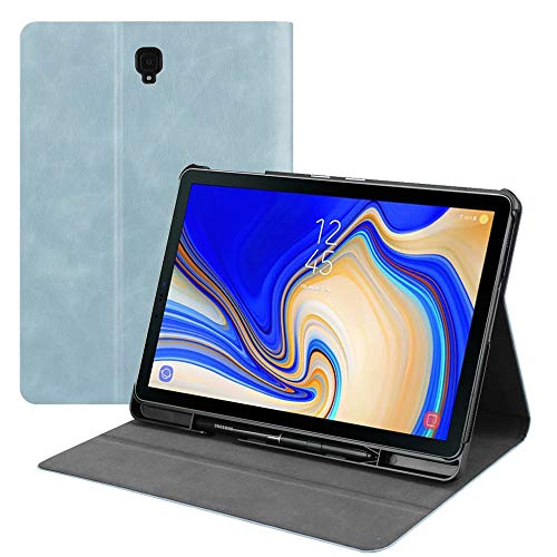 Wineecy Folio Case Samsung Galaxy Tab S4 10.5 2018 Model SM-T830/T835/T837, Premium PU Leather Stand Cover with S Pen Holder for Galaxy Tab S4 10.5-Inch Tablet 2018 (Galaxy Tab S4 10.5, Blue)