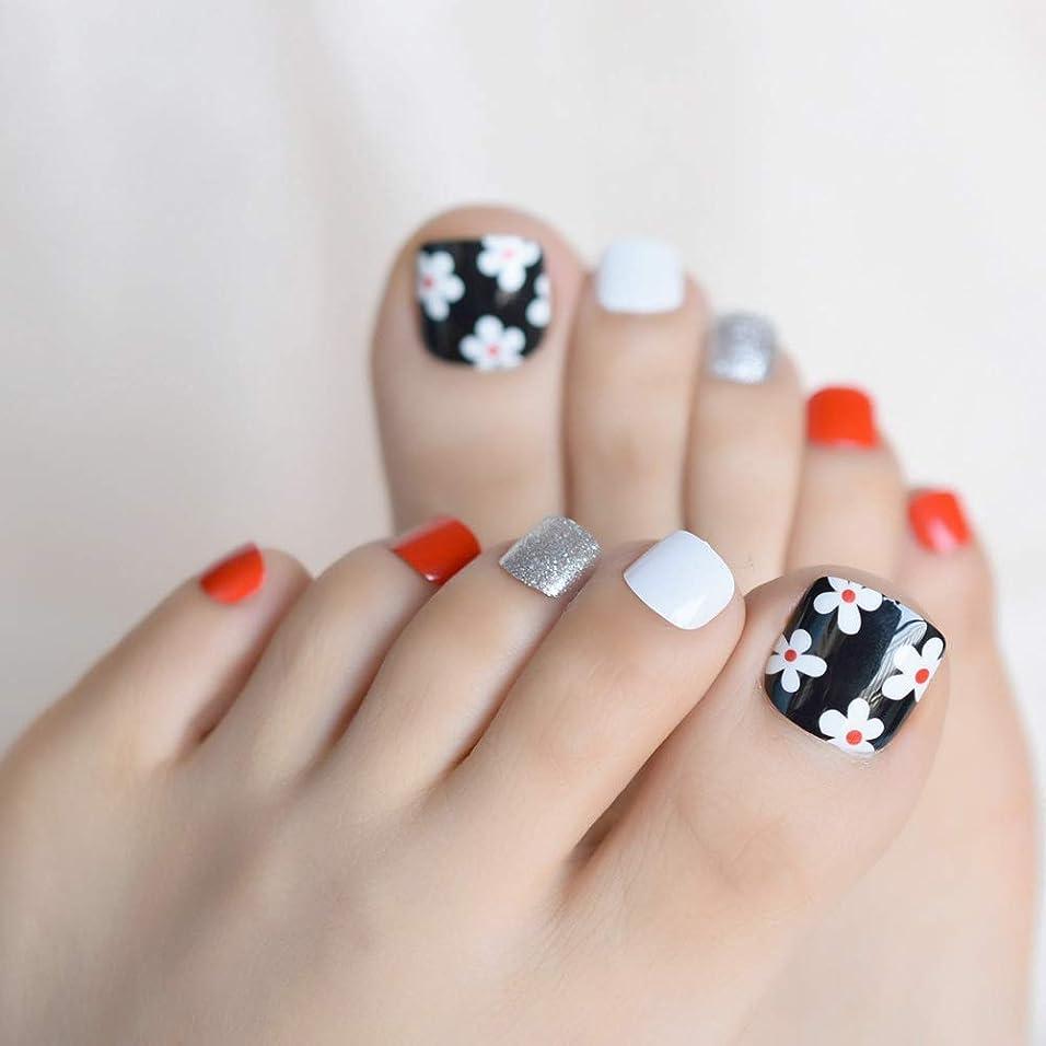 スポンジ爪熟すXUTXZKA 白い花偽偽足の爪のステッカーシルバーグリッターホワイトブラックレッドトゥネイルのヒントを着用