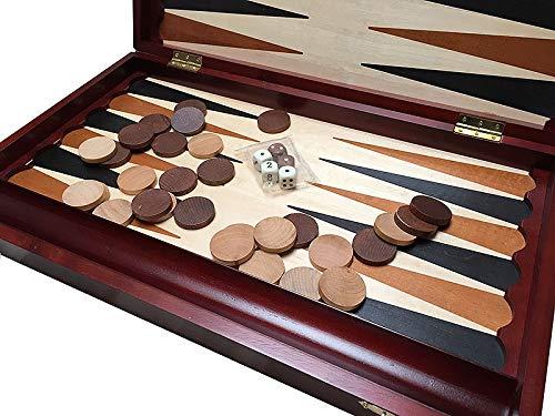 Backgammon Spiel aus Holz 48x29 cm - Reise Backgammon Steine Set für Kinder und Erwachsene klappbar