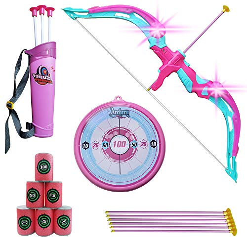 NWESTUN Bow and Arrow for Kids with LED Flash Lights