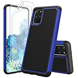 Zectoo Shockproof Galaxy S20 Plus Case, Galaxy S20+ Cute Case,[with Screen Protector] Dual Layer Armor Shockproof Defender Scratch Resistant Bumper Grip Rugged Case Cover for Samsung S20+ [Blue]