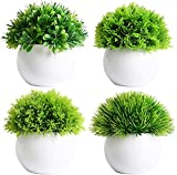 Dekorly Set of 4 Mini Artificial Plants Potted Fake Bonsai Ball Plant Faux Green Grass in White Plastic Pots for Outdoor and Indoor Home Desk Decor (4 Plants with Pot)