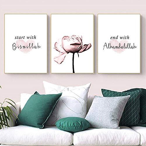 HMOTR Islamische Poster und Drucke Rosa Blume Leinwand Poster Moschee Dekor Wandbilder Für Wohnzimmer Decoration-50x70cmx3pcs_No_Frame