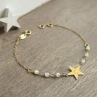 Bracelet Personnalisé Petite Étoile en Or avec des Pierres de Lune, bracelet étoile, cadeau d'anniversaire de mariage,...