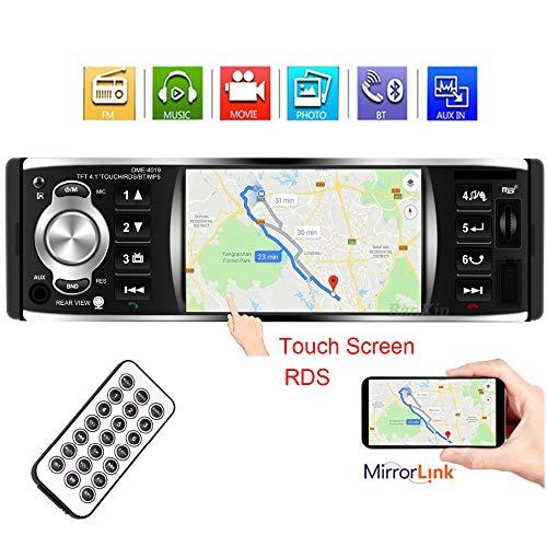 PolarLander Autoradio 1 din 4,1 Pouces Écran Tactile Autoradio MP5 Lecteur de Support Lien + RDS Stéréo Bluetooth Caméra de recul arrière Autoradio