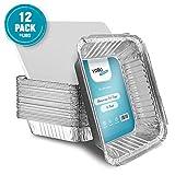 Bandejas Desechables de Aluminio Grandes Tamaño 23cm x 23cm para Hornear, Cocinar, Congelar, y Guardar Recipientes con Tapas (Paquete de 12)