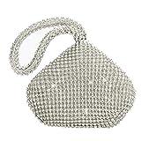 Lady Evening Clutches Mini bolso brillante fiesta bolsa de mano de cristal brillante bolsa de embrague bolsa, color Plateado, talla Talla única