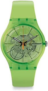Swatch New Gent Lacquered Swiss Quartz Silicone Strap, Green, 20 Casual Watch (Model: SUOG118)
