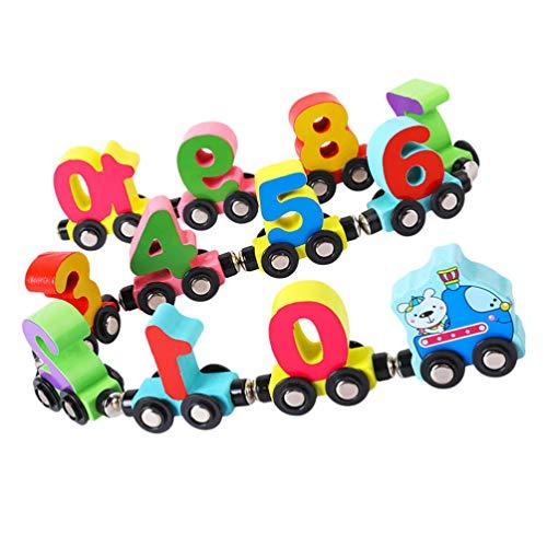 Toyvian Magnetischer Holz- Zug Bunt Kinder 0- 10 Zahl Lernspielzeug Farberkennung Spielzeug Montessori Pädagogisches Spielzeug für Kinder Geschenk 1 Set