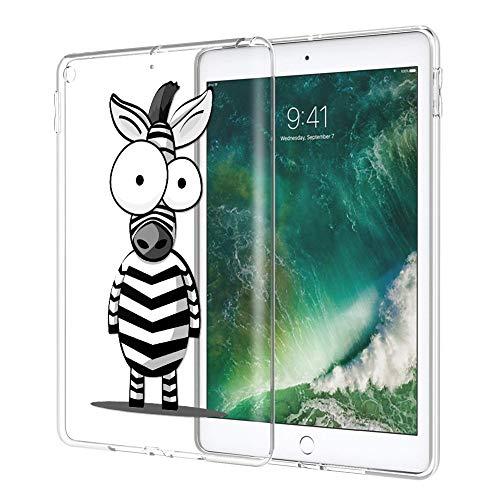 ZhuoFan Coque iPad 9.7 2018 Housse de Protection Étui Fin en Silicone Transparente avec Motif Antichoc Flexible TPU Smart Cover Shell Case pour Nouvel Tablette Apple iPad9.7 Poucess, Zèbre