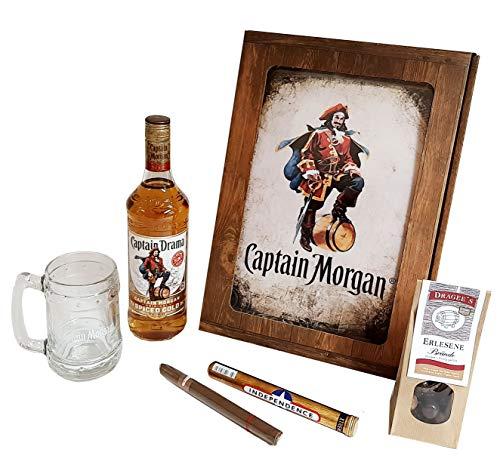 Captain Morgan Geschenk Set | Feinster Karibischer Rum mit Original Glas, Zigarre und Dragee´s | Geschenkkorb 5-teilig | Geschenk für Männer | Geschenkideen mit Alkohol | Präsentkorb gefüllt