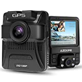 AZDOME Cámara de Coche de Dual Lente Frontal Exterior HD 1080P y Trasero Interior 720P con GPS, Dashcam Grabadora Dash Cam de Ángulo Amplio 170° con G-Sensor,Detección de Movimiento,Grabación en Bucle