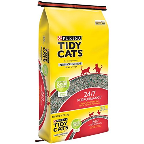 Purina Tidy Cats Non-Clumping Cat Litter 24/7 Performance for Multiple Cats (30 lb. Bag - 3 Pack)