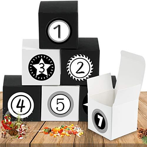 Bluelves Adventskalender zum Befüllen, Adventskalender Boxen, Adventskalender Kisten mit 24 Zahlenaufklebern, Weihnachten Geschenkboxen für Weihnachtliche DIY Handwerk