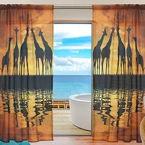 Vinlin Gardine für Fenster, afrikanische Tier-Giraffe, Voile, für Schlafzimmer, Wohnzimmer, 2 Paneele 139,7 x 198 cm, multi, 55x78x2(in)