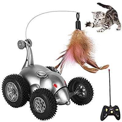 SlowTon Remote Cat Feather Toy, Mouse Shape Interactive Moving Automatic Robotic Rat Sound Chaser Prank Car for Kitten | Stimulate Cat Hunting Instincts | Funny Gifts for Pet (No Battery Included)