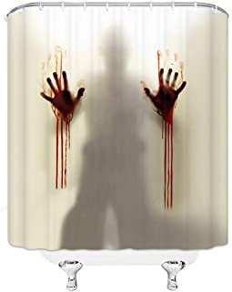 GOODCARE Help Me Scary Bloody Hands Silhouette Shadow Shower Curtain for Bathroom,3D Printing Fabric Shower Curtain Set Including Hooks, 71x71inch (4657W)