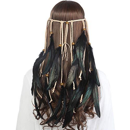 AWAYTR Feder Kopfschmuck Boho Hippie Stirnband - Fancy Federschmuck Böhmische Kopfbedeckung Quaste für Damen Mädchen Karneval Kopfschmuck (Schwarz)