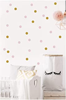 Gold and Pink Dot Wall Decals for Nursery, Baby Girl Bedroom, Removable Home Decor, Posh Metallic Circle Stickers, Easy Peel and Stick, Trendy- 1.5 inches