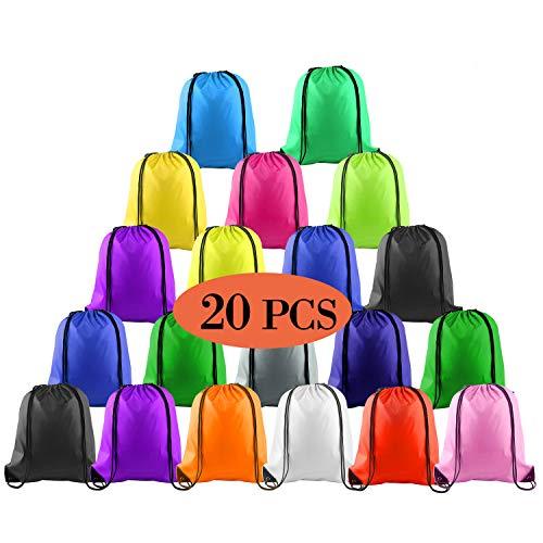 KUUQA 20 Pcs Drawstring Backpack Sport Bags String Bag Sack Cinch Gym Backpack Bulk for School Gym Sport or Traveling,Colorful