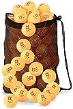 Clinch Star Lot de 50 balles de ping-pong 3 étoiles 40 mm avec sac de transport en maille, Orange