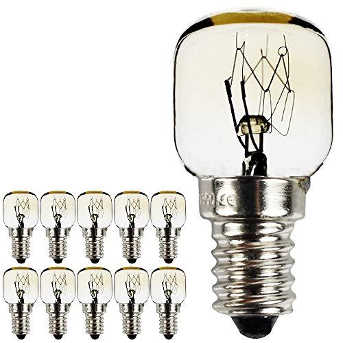 Leuchtmittel für Mikrowelle/Backofen, kleine Zwerglampen, SES/E14-Schraubsockel, vernickelt, hitzebeständig bis 300°C, 10Stück/Packung Traditionell