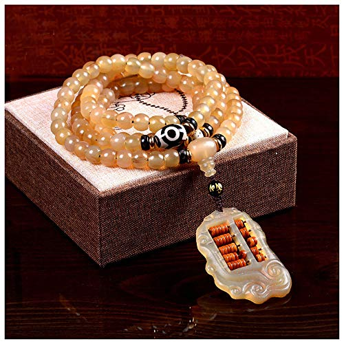 Lllunimon Natural Goat Horns Bracelets 108, Necklaces Beads Jewelry Lucky Abacus Bracelets for Men Women,7 * 9mm