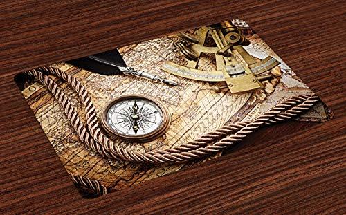 ABAKUHAUS Kompass Platzmatten, Vintage Navigation Voyage Thema Lifestyle Bild mit Sextant und Kompass Discovery Tools, Tiscjdeco aus Farbfesten Stoff für das Esszimmer und Küch, Creme
