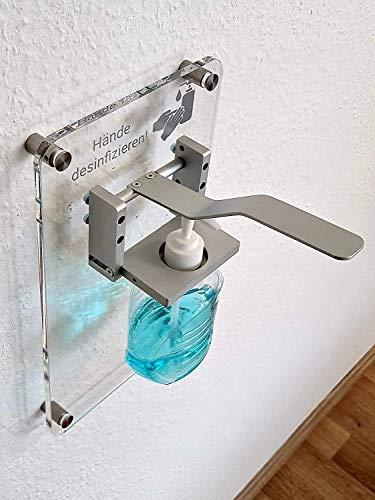 Desinfektions Wandspender Transparent inkl. 500 ml Flasche   Wand Seifenspender   Hygienespender   Made in Germany   Sofort LIeferbar